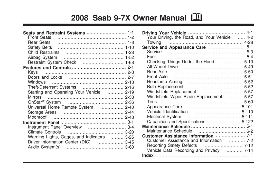 2008 Saab 9 7x owners manual