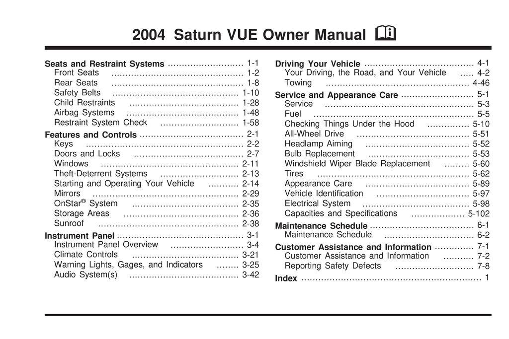 2004 Saturn Vue owners manual