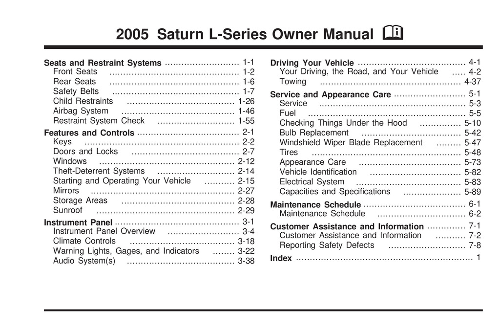 2005 Saturn L Series owners manual