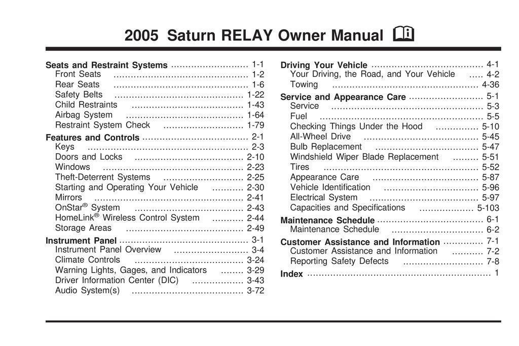 2005 Saturn Relay owners manual