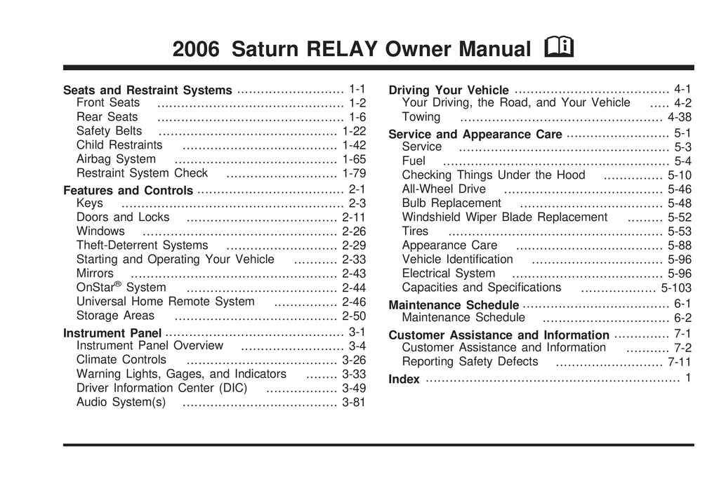 2006 Saturn Relay owners manual