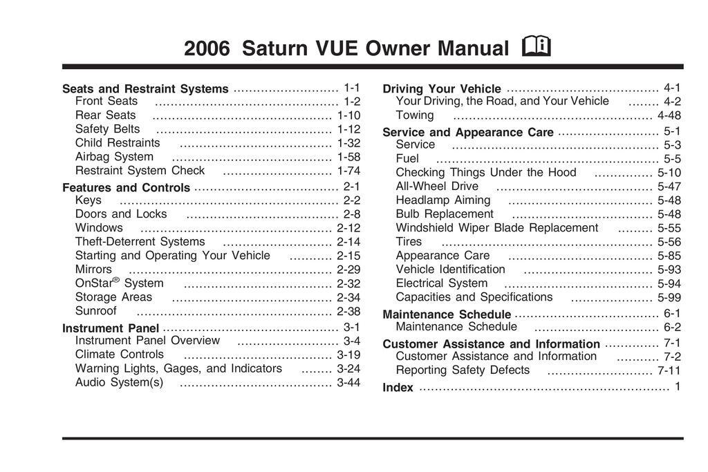 2006 Saturn Vue owners manual