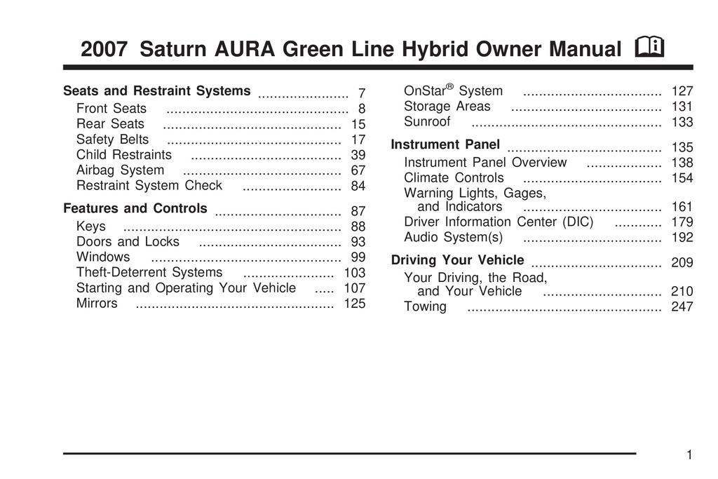 2007 Saturn Aura Hybrid owners manual