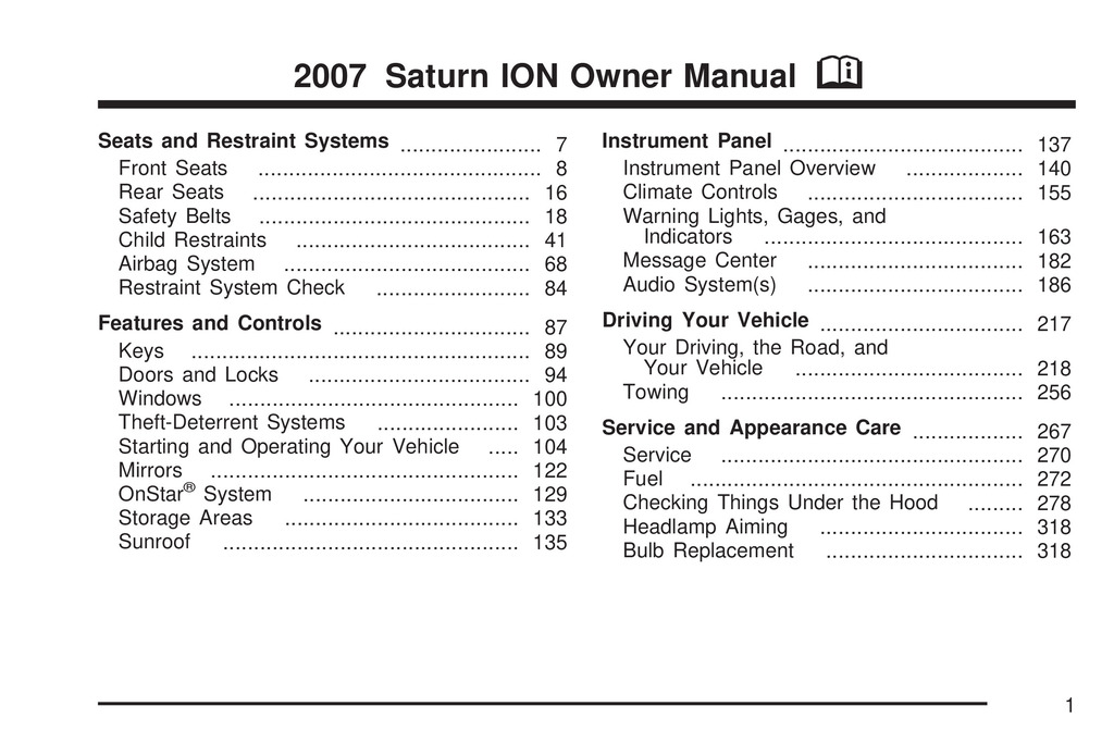 2007 Saturn Ion owners manual
