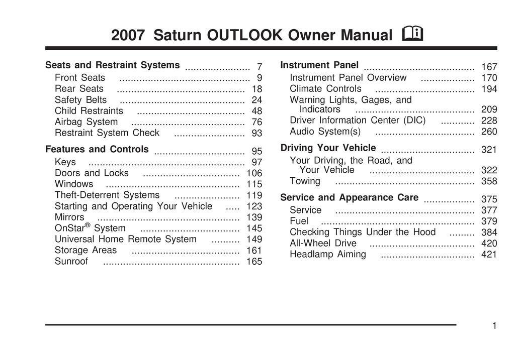 2007 Saturn Outlook owners manual