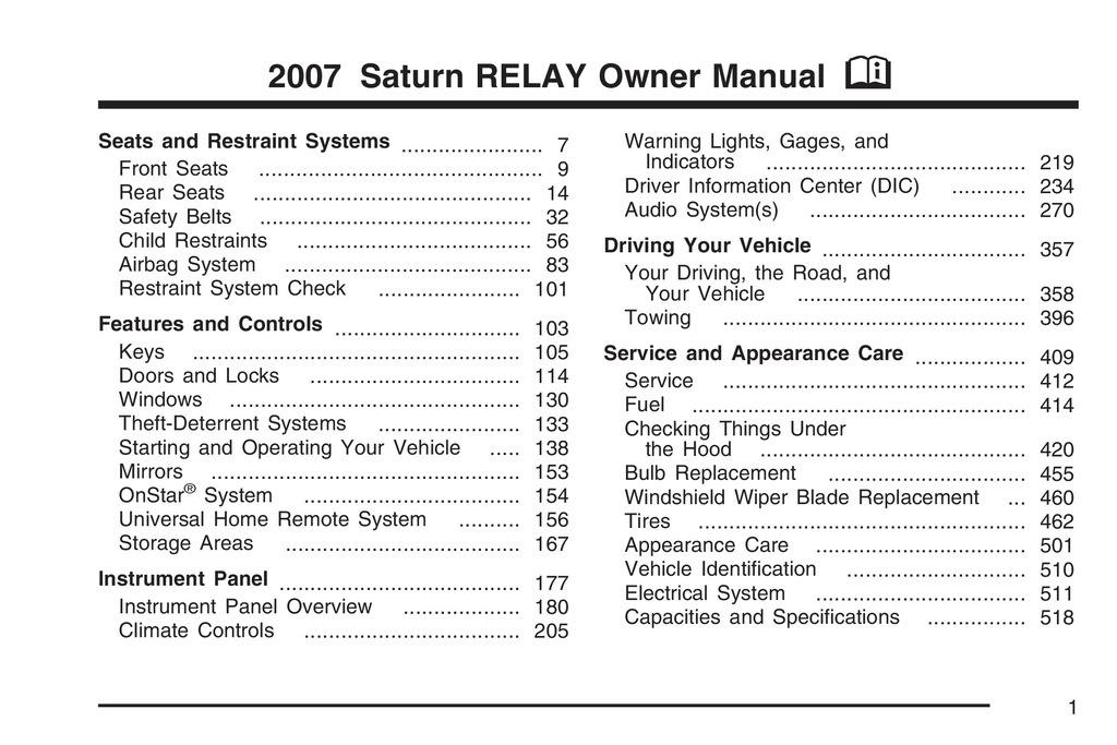 2007 Saturn Relay owners manual