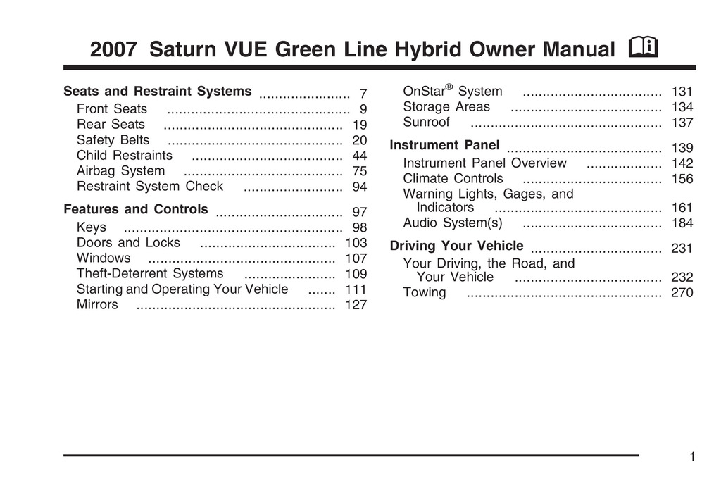 2007 Saturn Vue Hybrid owners manual
