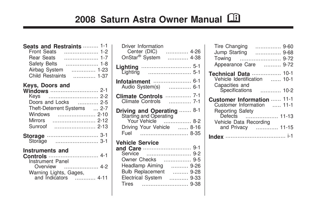 2008 Saturn Astra owners manual