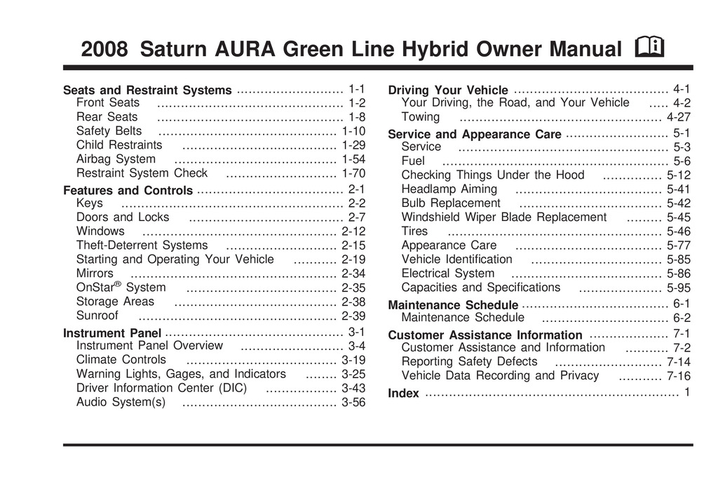 2008 Saturn Aura Hybrid owners manual