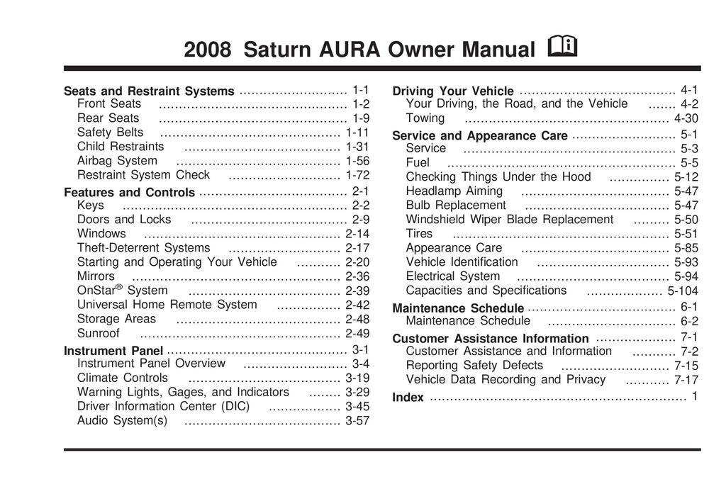 2008 Saturn Aura owners manual