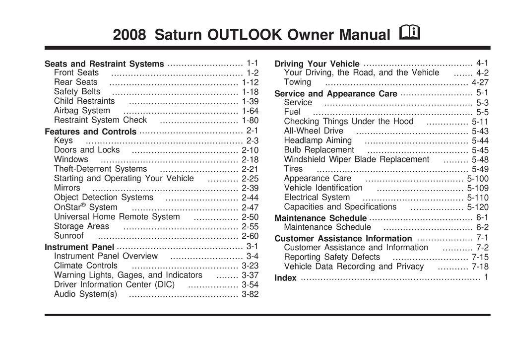 2008 Saturn Outlook owners manual
