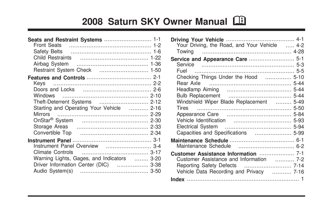 2008 Saturn Sky owners manual
