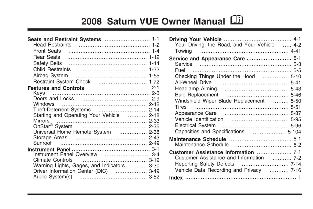 2008 Saturn Vue owners manual