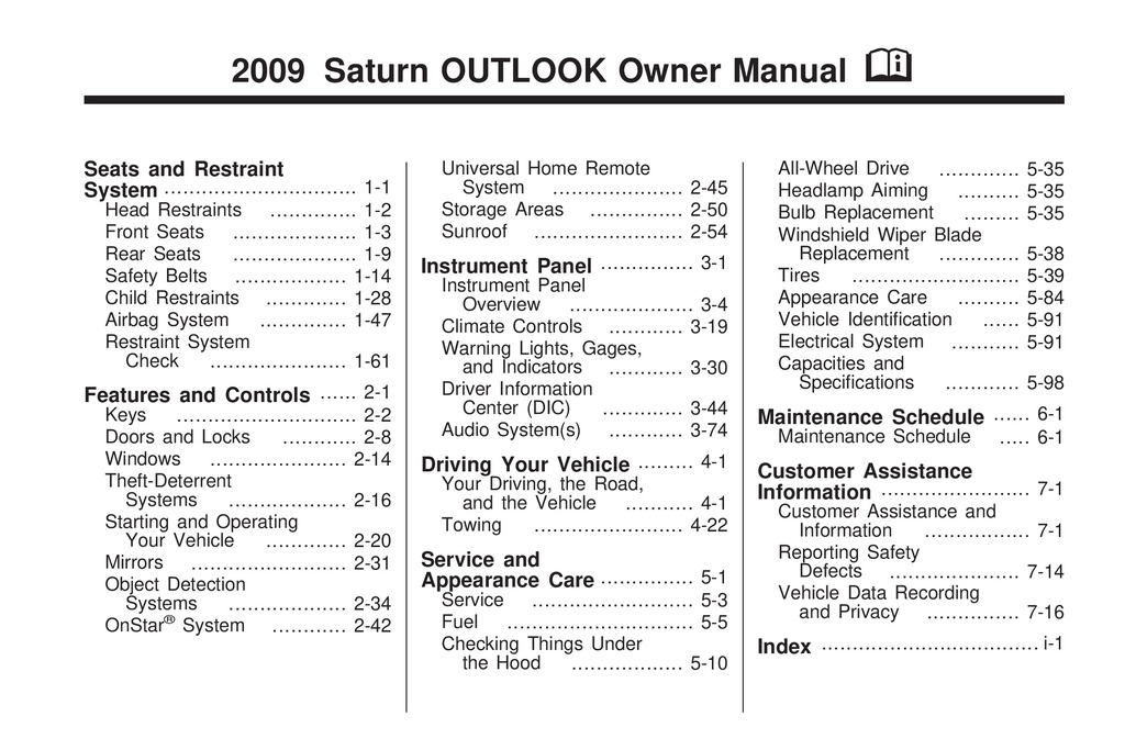 2009 Saturn Outlook owners manual