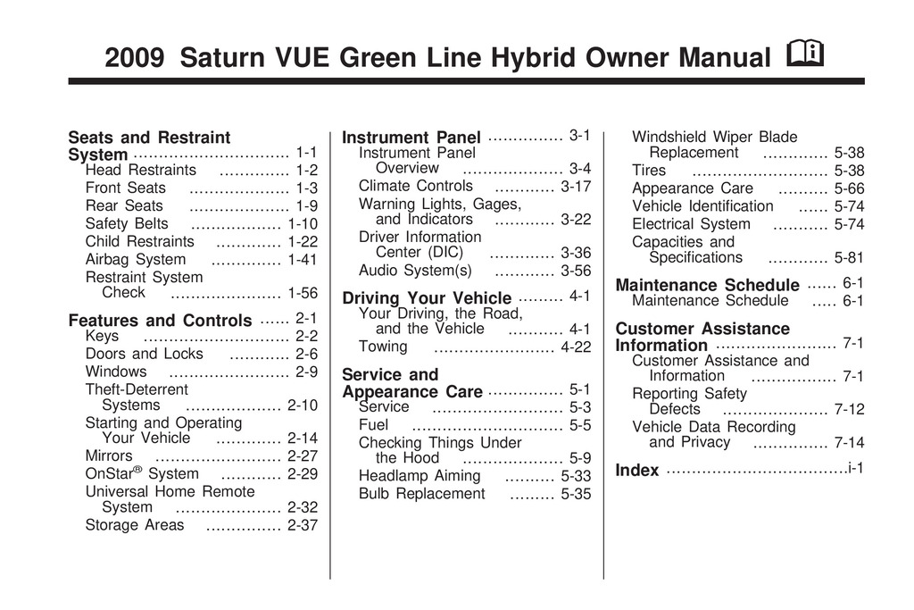 2009 Saturn Vue Hybrid owners manual