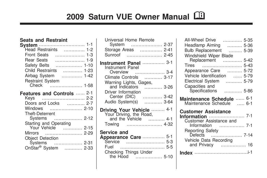 2009 Saturn Vue owners manual