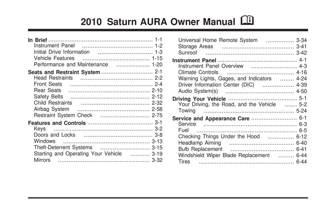 2010 Saturn Aura owners manual