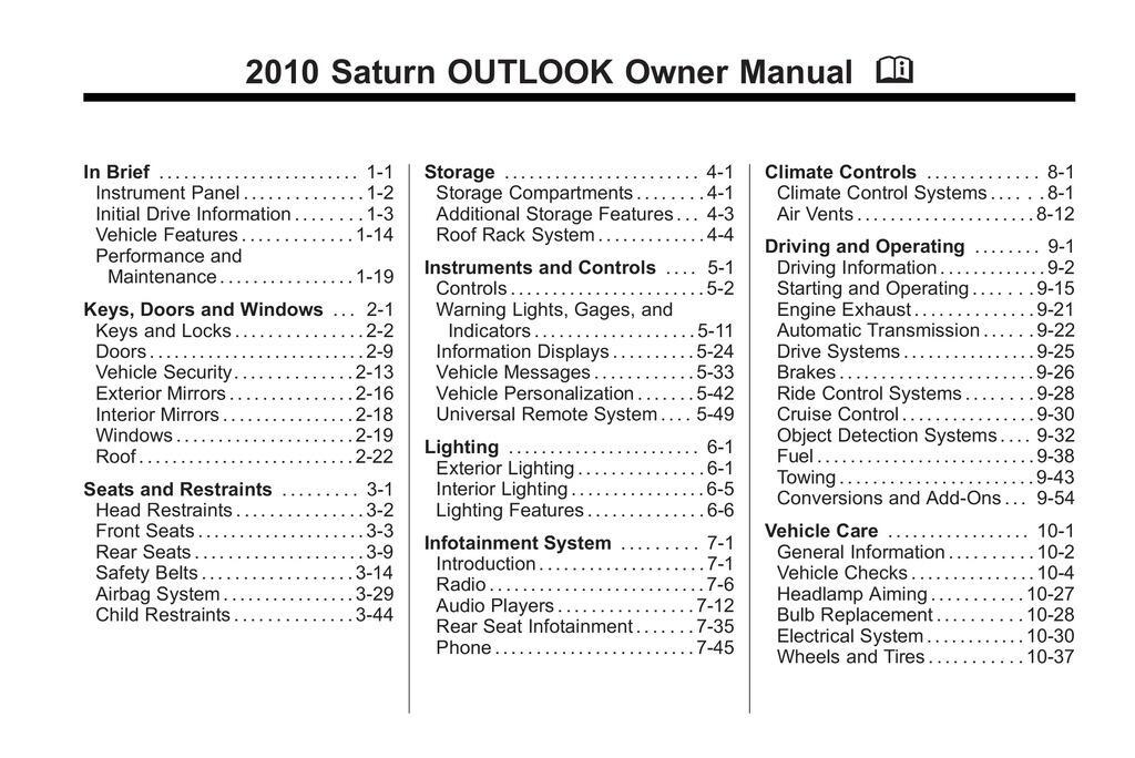 2010 Saturn Outlook owners manual