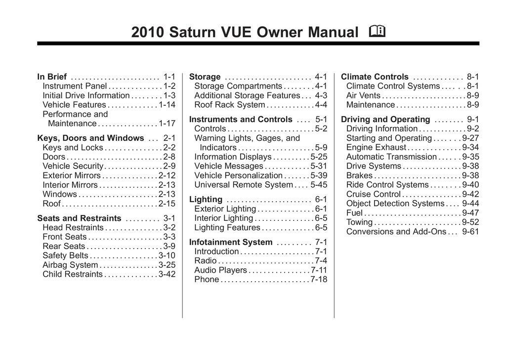2010 Saturn Vue owners manual