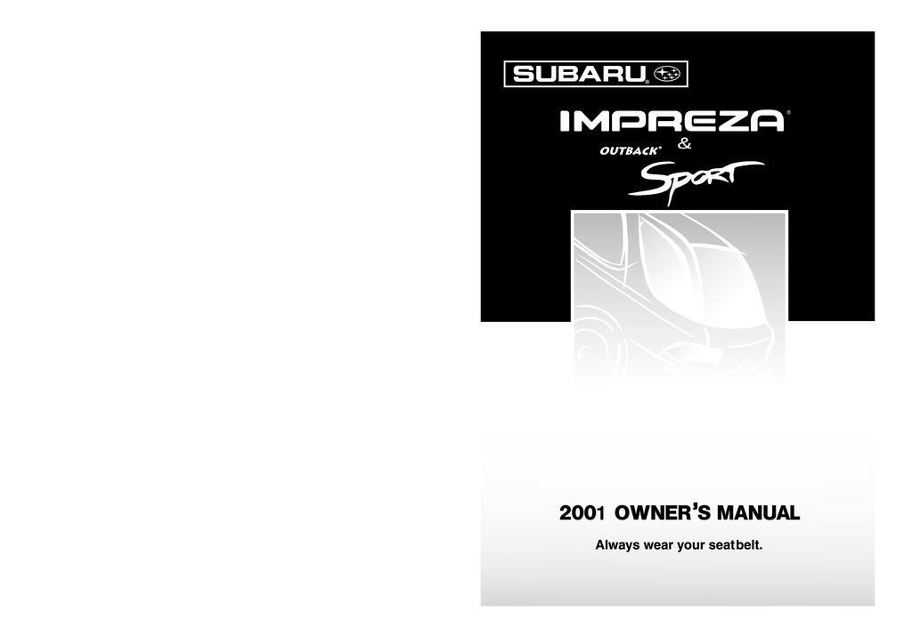 2001 Subaru Impreza owners manual