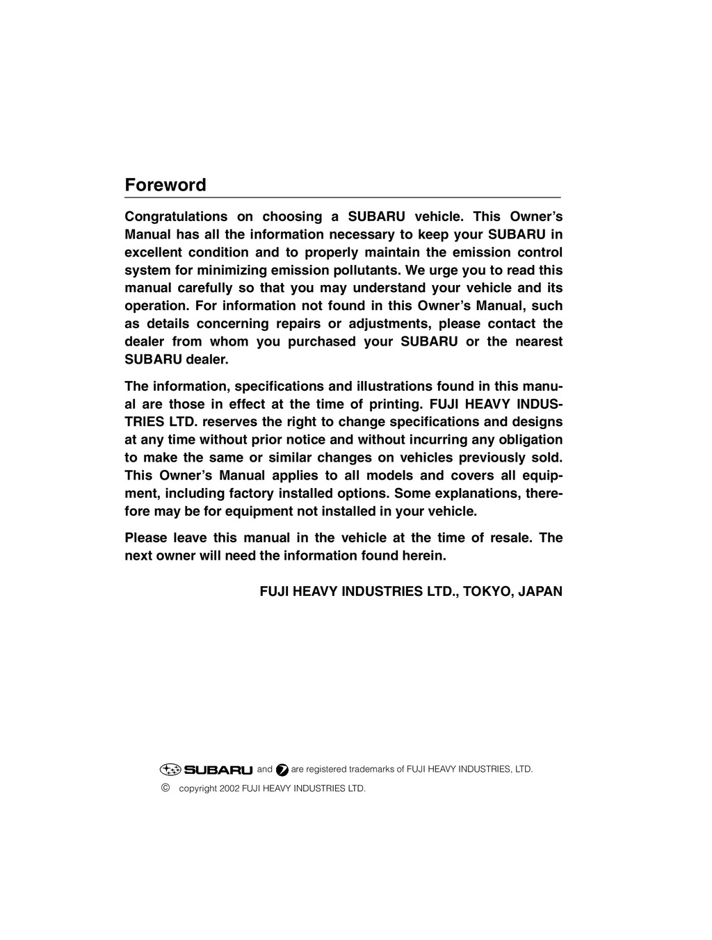 2003 Subaru Baja owners manual