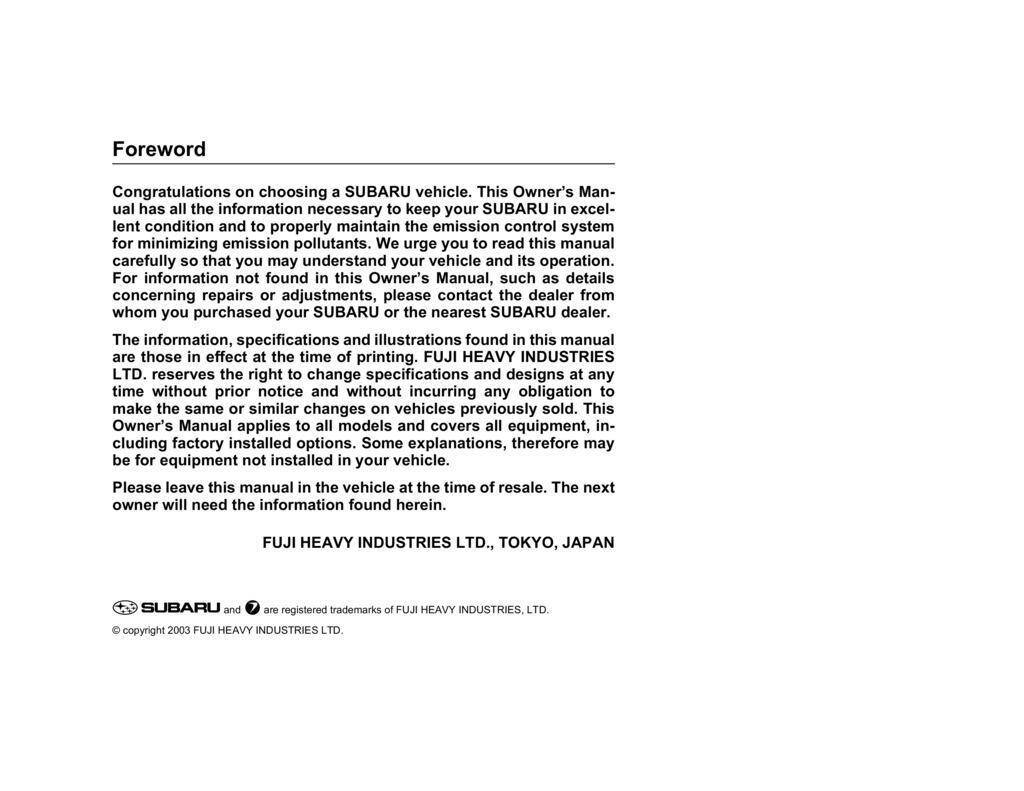 2004 Subaru Baja owners manual