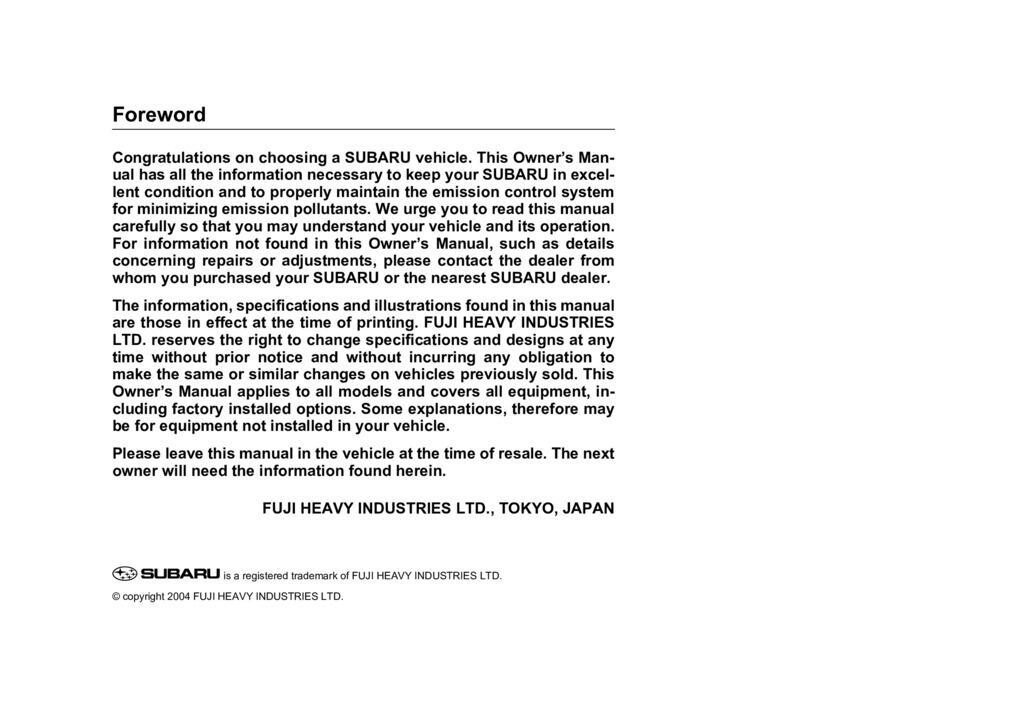 2005 Subaru Baja owners manual