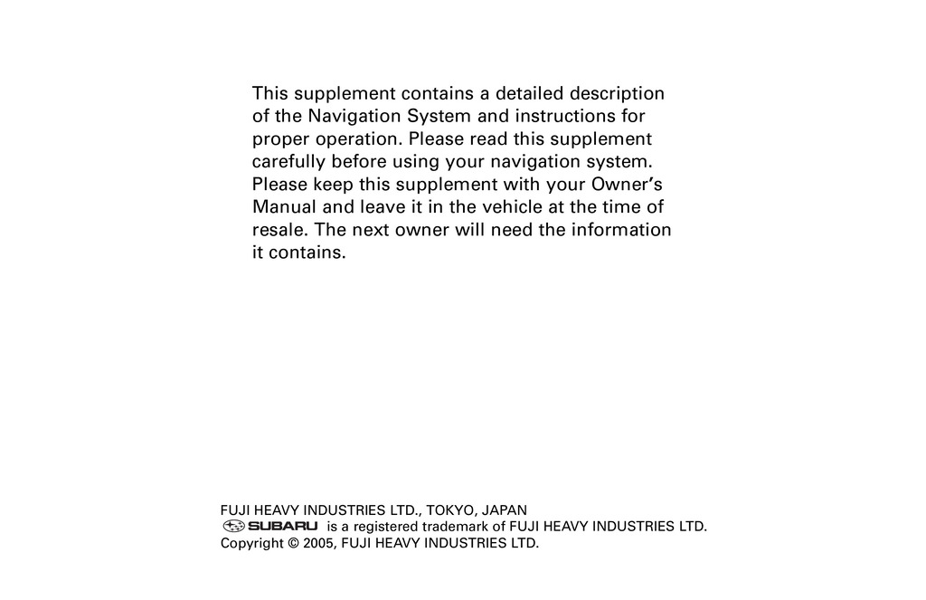 2006 Subaru Legacy And Outback Navigation System owners manual