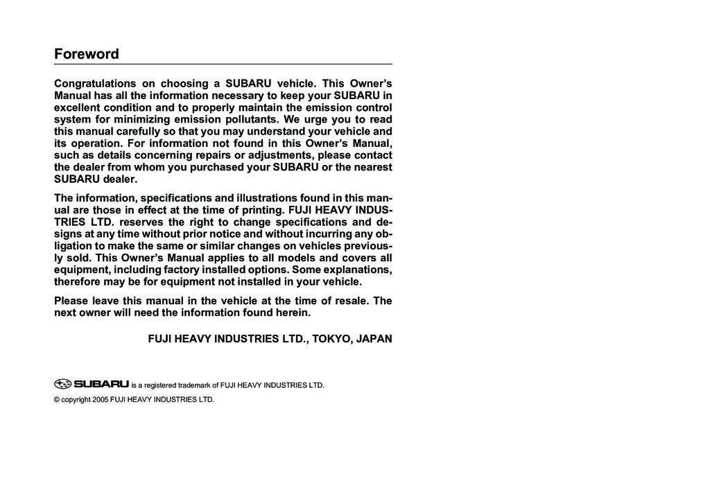 2006 Subaru Legacy owners manual