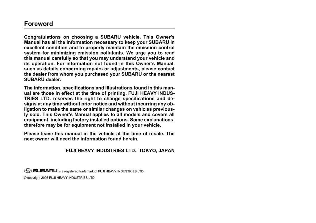 2006 Subaru Tribeca owners manual