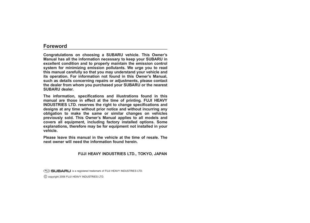 2007 Subaru Legacy owners manual