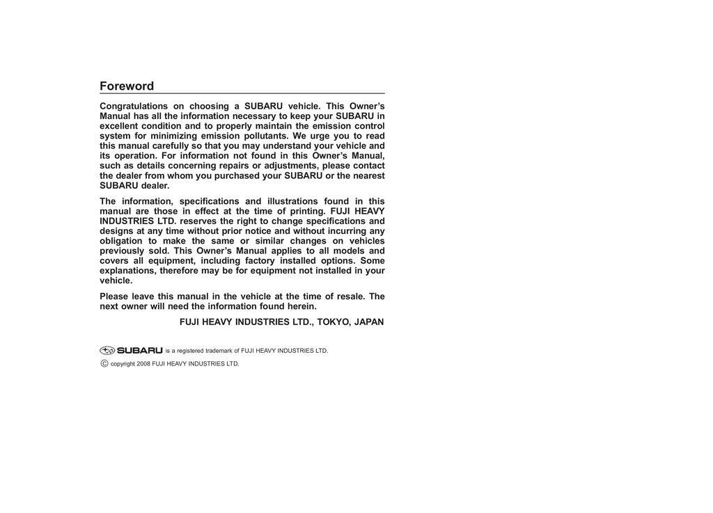 2009 Subaru Forester owners manual
