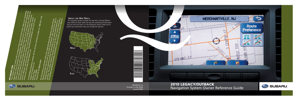 2010 Subaru Legacy And Outback Navigation System owners manual