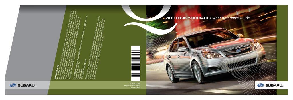 2010 Subaru Legacy owners manual