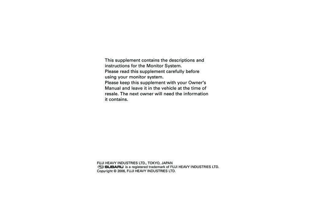 2010 Subaru Tribeca owners manual