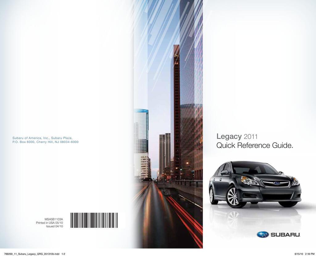 2011 Subaru Legacy owners manual