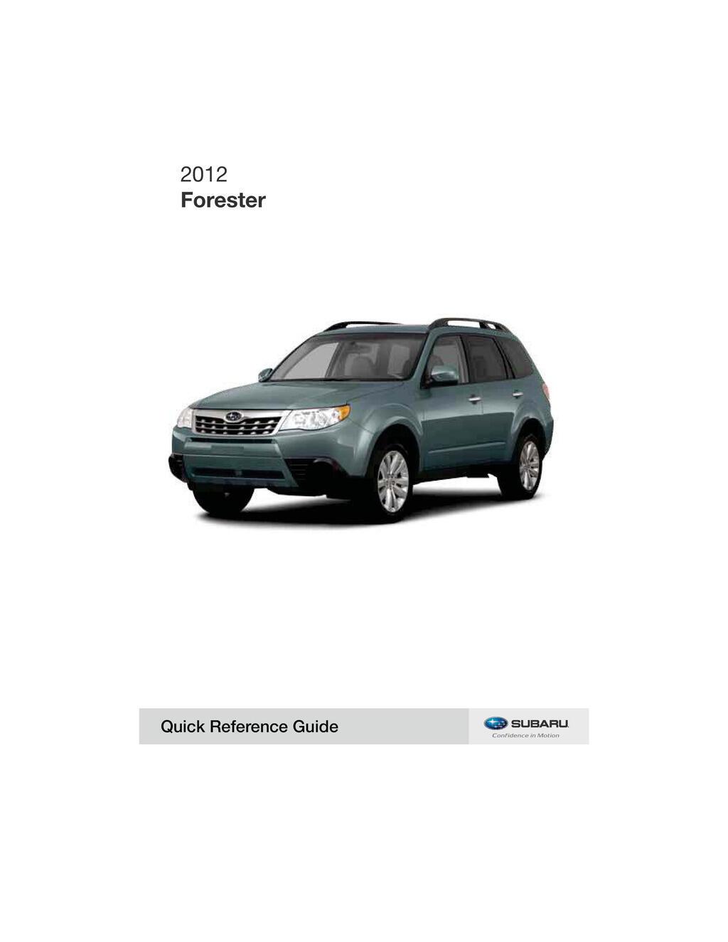 2012 Subaru Forester owners manual