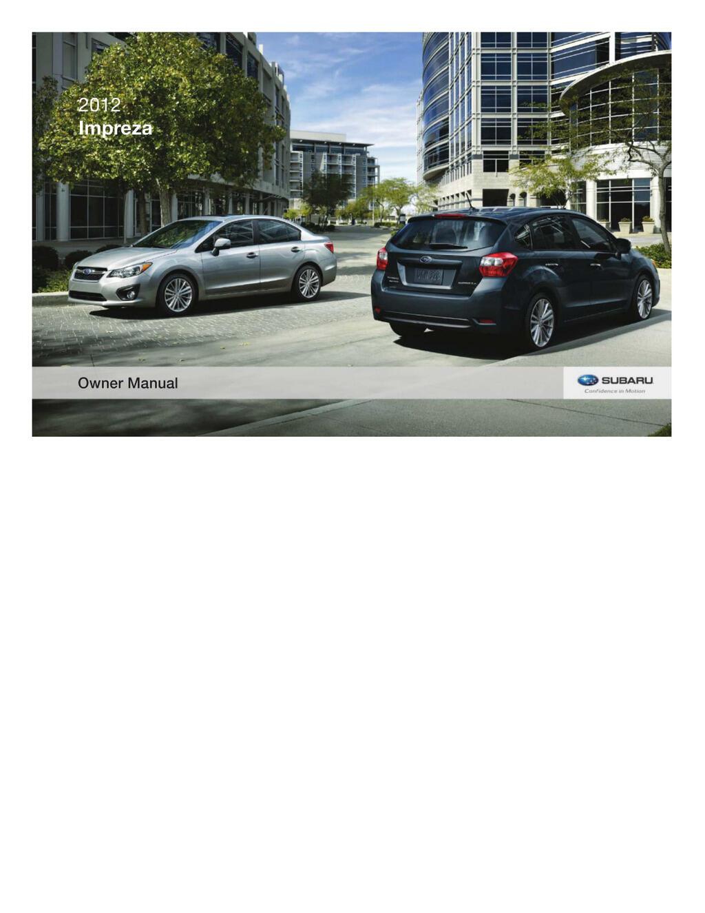 2012 Subaru Impreza owners manual