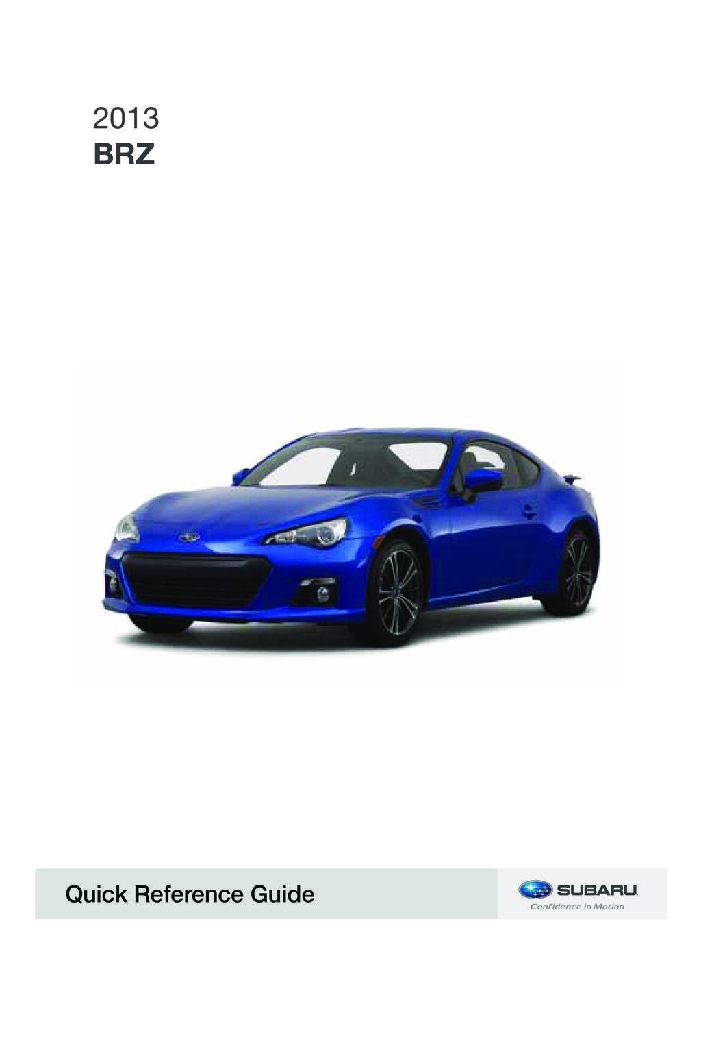 2013 Subaru Brz owners manual