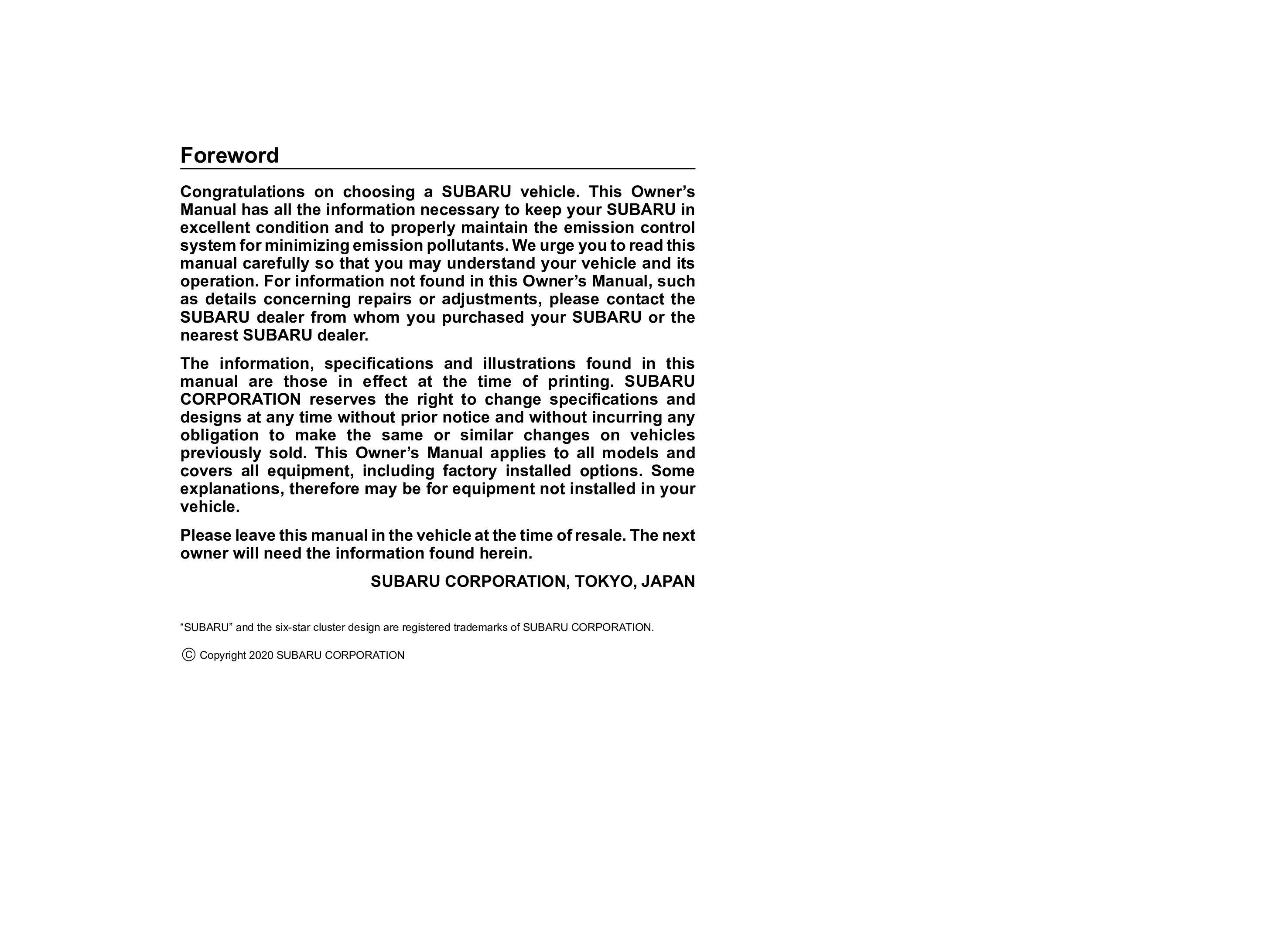2021 Subaru Crosstrek owners manual