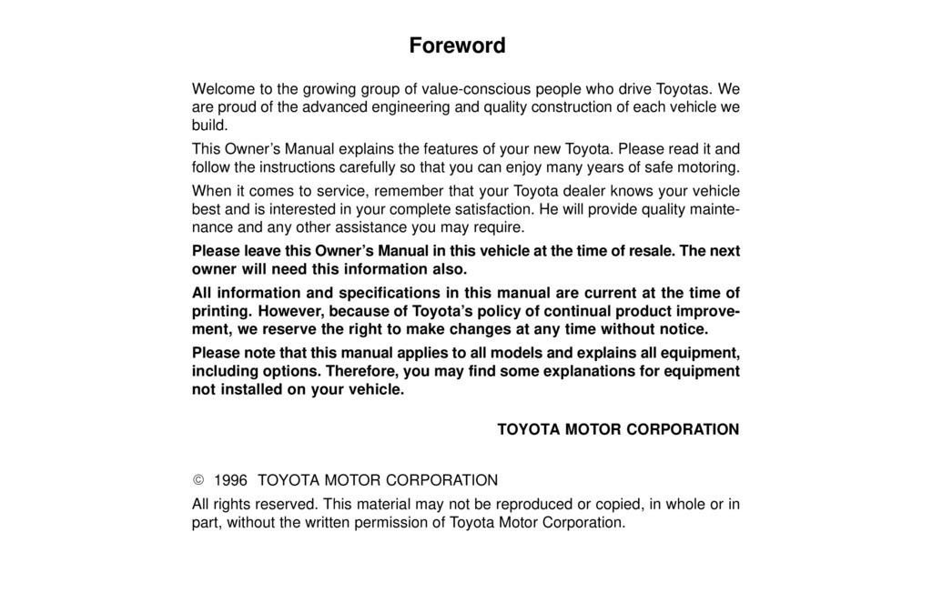 1996 Toyota Celica owners manual