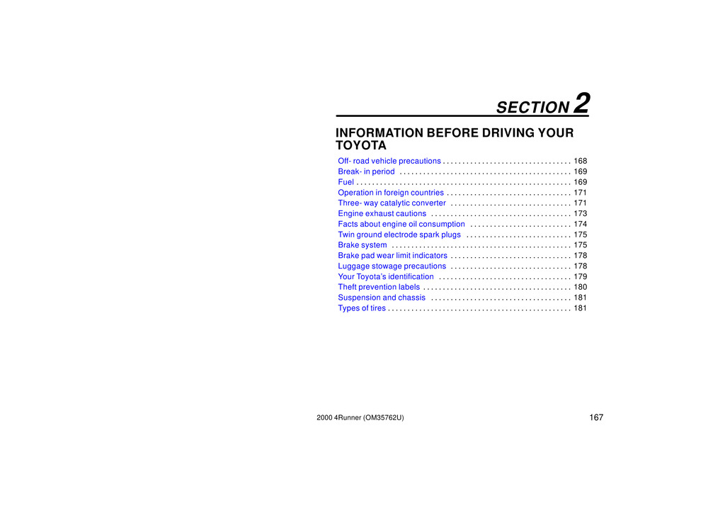 2000 Toyota 4runner owners manual