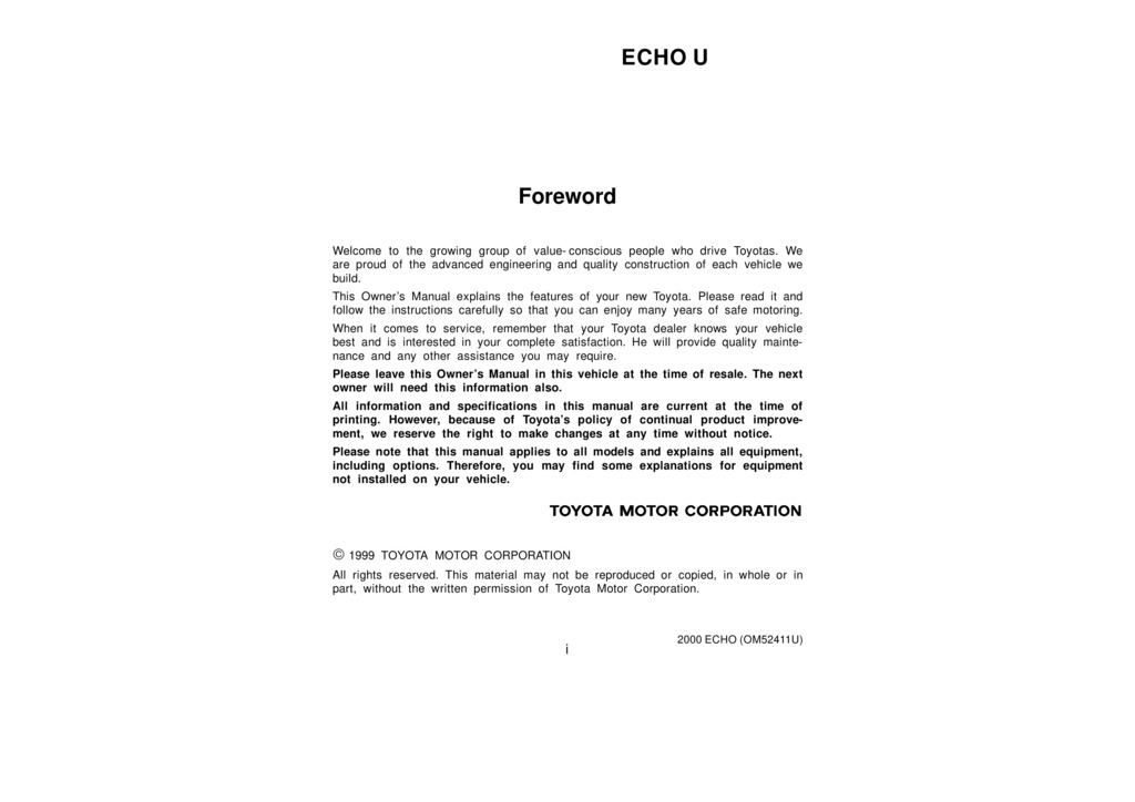 2000 Toyota Echo owners manual