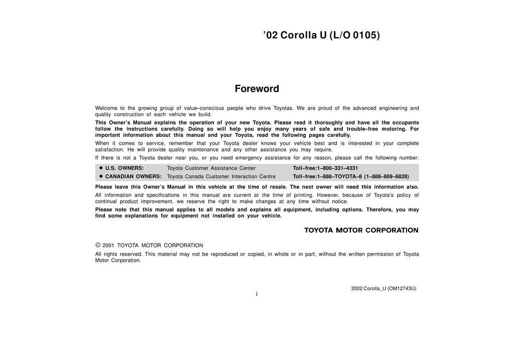 2002 Toyota Corolla owners manual