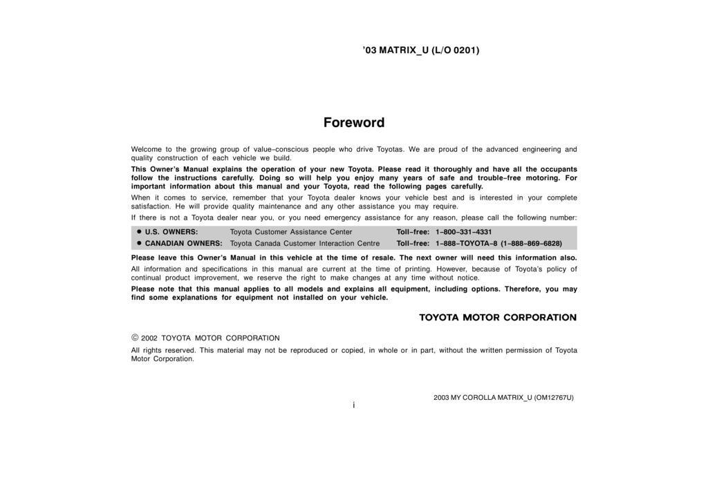 2003 Toyota Matrix owners manual