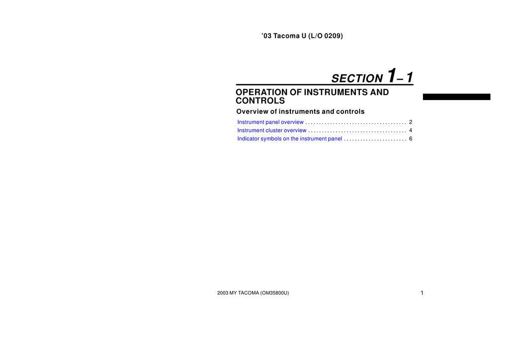 2003 Toyota Tacoma owners manual