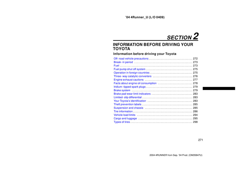 2004 Toyota 4runner owners manual