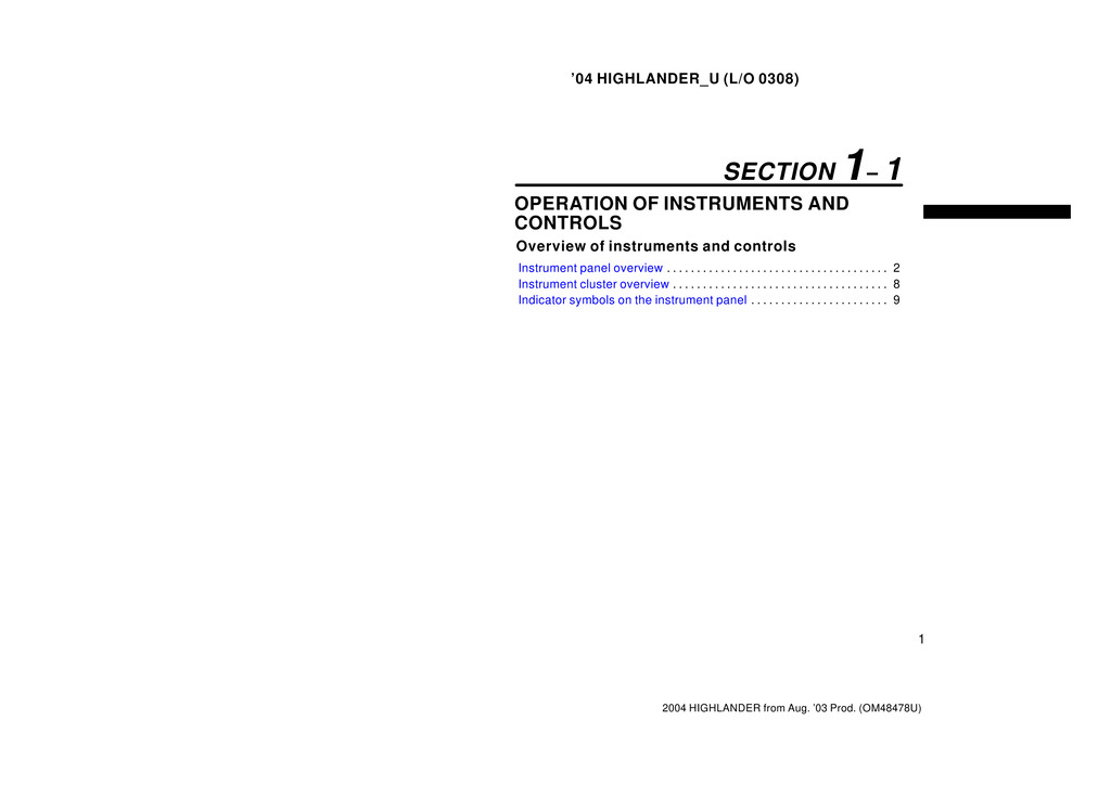 2004 Toyota Highlander owners manual