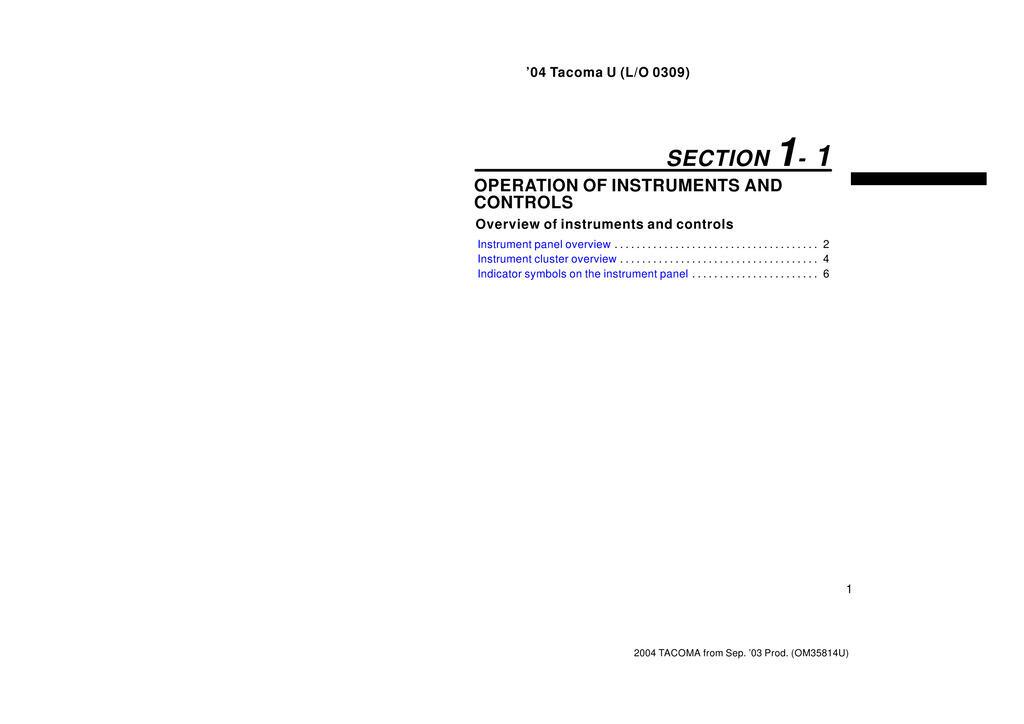 2004 Toyota Tacoma owners manual
