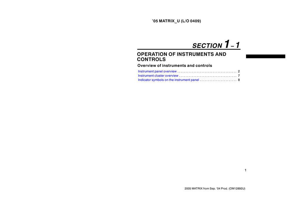 2005 Toyota Matrix owners manual